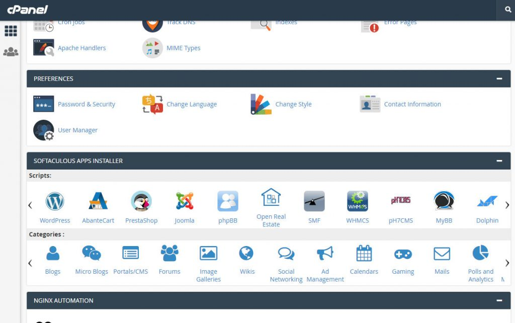 Cpanel alusta ja WordPress ohjelmisto